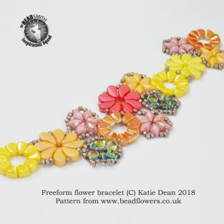 Freeform flower bracelet pattern, Katie Dean, Beadflowers
