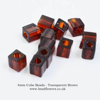 4mm Miyuki Cube Beads, 5g packs, buy from Katie Dean, Beadflowers