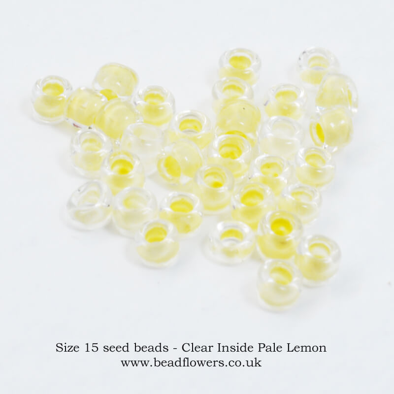Size 15 seed beads, buy 5g packs from Katie Dean, Beadflowers
