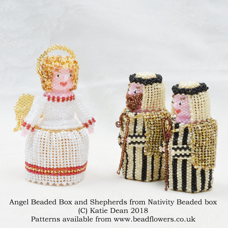 Angel beaded box pattern with Shepherds from Nativity beaded box pattern, Katie Dean, Beadflowers