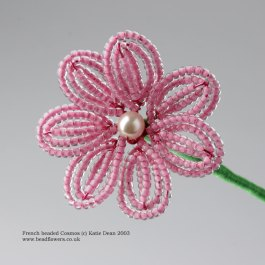 French beaded Cosmos tutorial, Pattern by Katie Dean, Beadflowers
