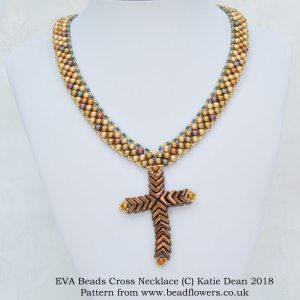 Beaded cross necklace pattern with EVA beads, Katie Dean, Beadflowers