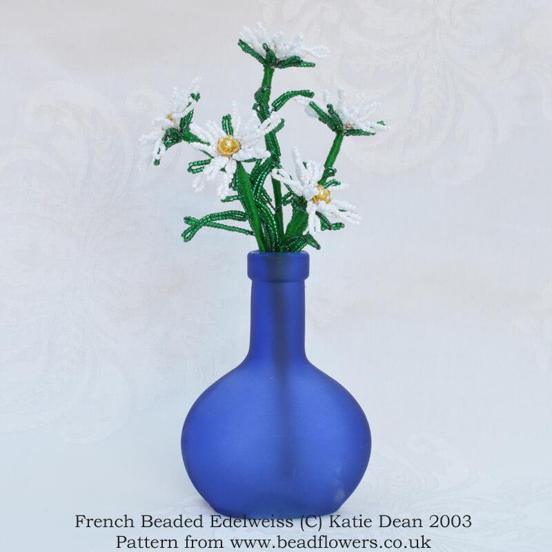 French beaded edelweiss pattern, Katie Dean, Beadflowers