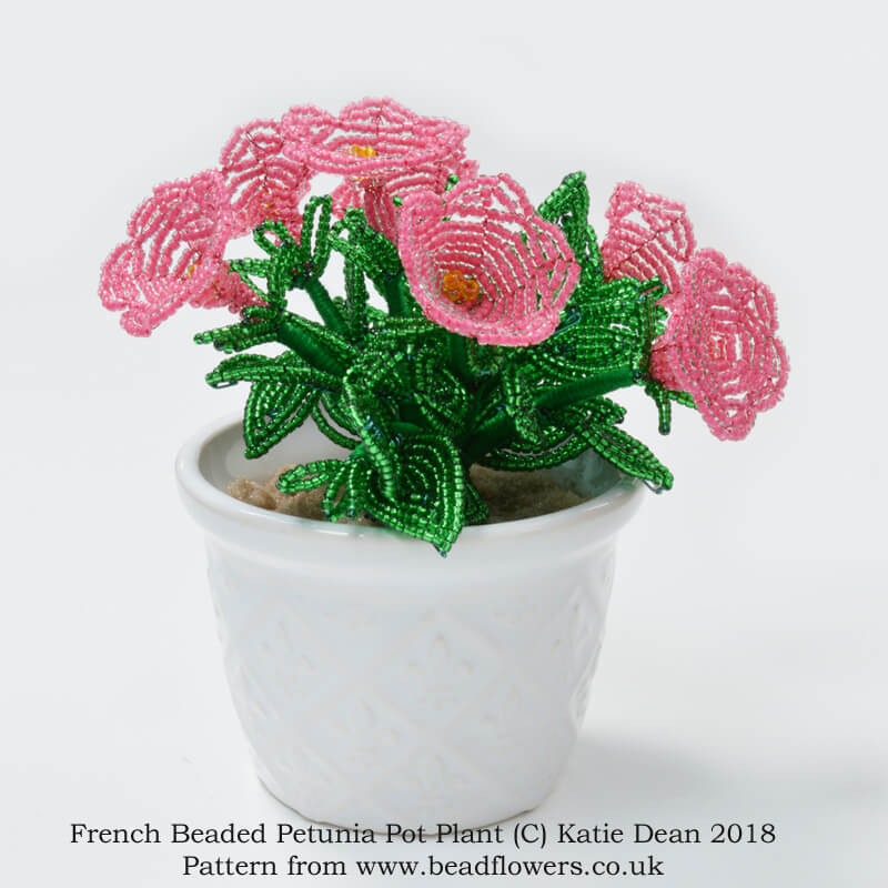 French beaded Petunia kit or pattern by Katie Dean, Beadflower