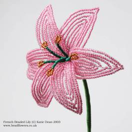 French beaded lily tutorial, Katie Dean, Beadflowers