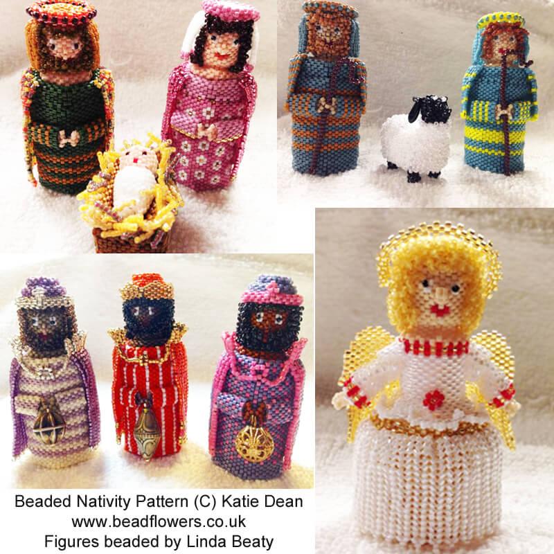 Beaded Nativity, Angel beaded box, sheep beaded box patterns, Katie Dean, Beadflowers