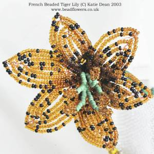 French beaded lily pattern, Katie Dean, Beadflowers