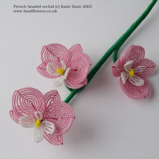 French beaded orchid pattern, Katie Dean, Beadflowers