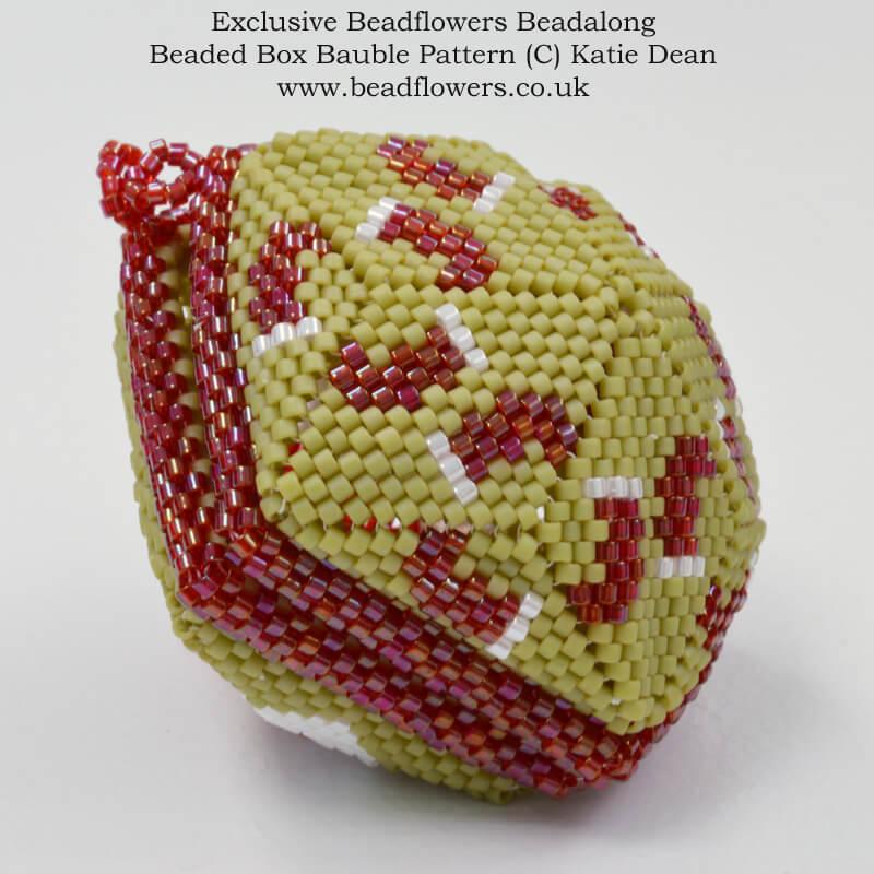 Christmas ornament beadalong, Beaded box baubles, Katie Dean, Beadflowers