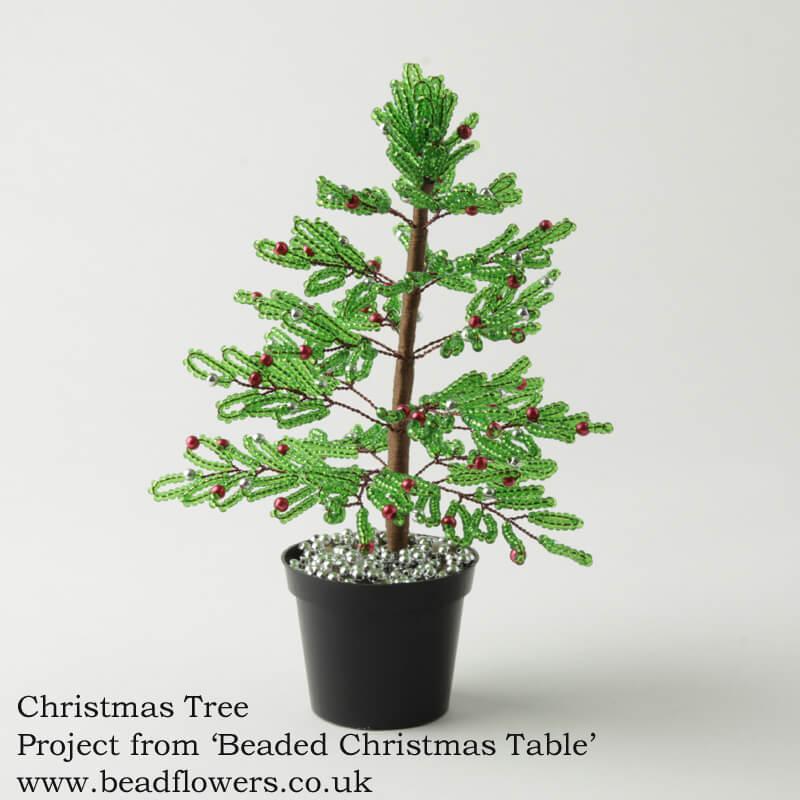 French beaded Christmas tree pattern, Katie Dean, Beadflowers