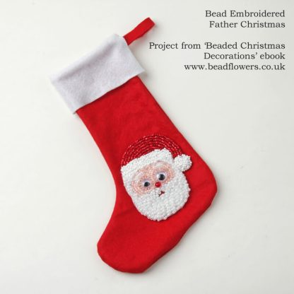 Santa Father Christmas bead embroidered stocking, Katie Dean, Beadflowers