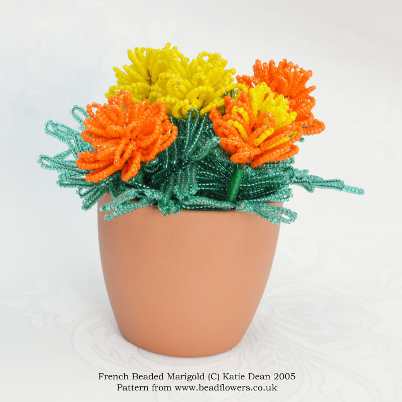 French beaded marigold kit and pattern, Katie Dean, Beadflowers