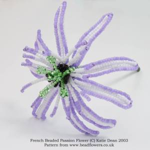 French Beaded Passion Flower Pattern, Katie Dean, Beadflowers
