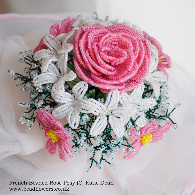 French Beaded Rose Pattern, Katie Dean, Beadflowers