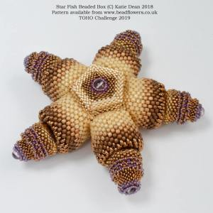 Starfish beaded box pattern, TOHO challenge 2019, Katie Dean, Beadflowers