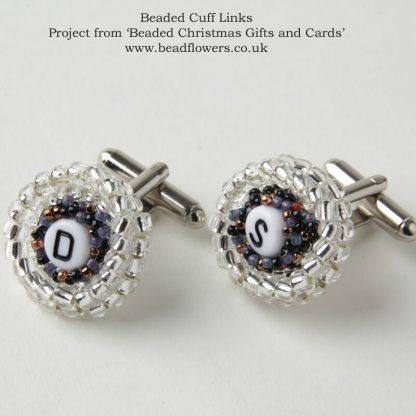 Beaded cufflinks pattern, Katie Dean, Beadflowers