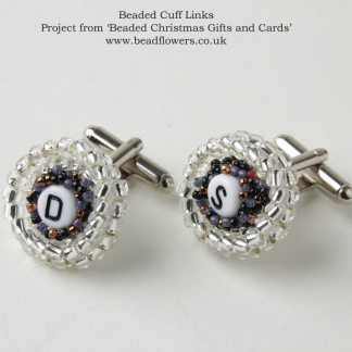 Beaded cufflinks pattern, Katie Dean, Beadflowers