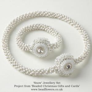 Snow necklace and bracelet pattern, Katie Dean, Beadflowers