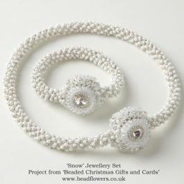 Snow necklace and bracelet pattern, Katie Dean, Beadflowers
