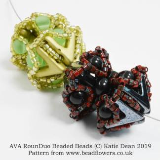 AVA RounDuo Beaded Bead Pattern, Katie Dean, Beadflowers