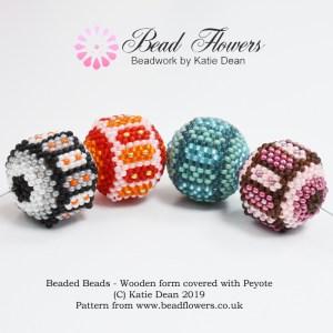 Beaded Bead Wooden Bead Peyote Covering Pattern by Katie Dean, Beadflowers