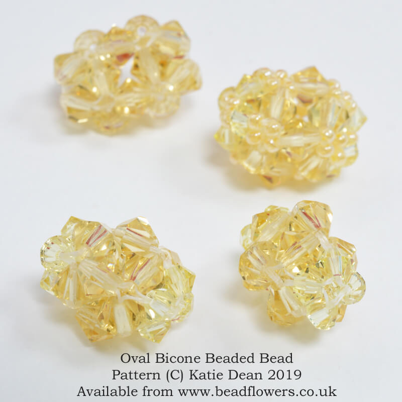 Oval bicone beaded beads pattern, Katie Dean, Beadflowers