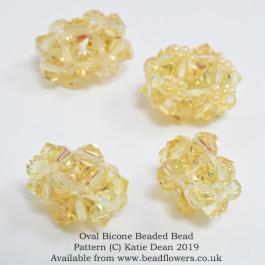 Oval bicone beaded beads pattern, Katie Dean, Beadflowers