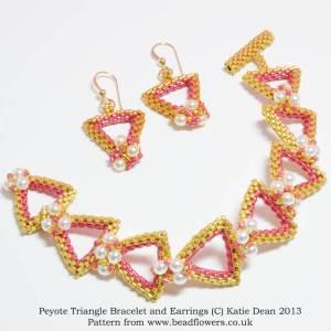 Peyote triangle bracelet and earrings pattern, Katie Dean, Beadflowers