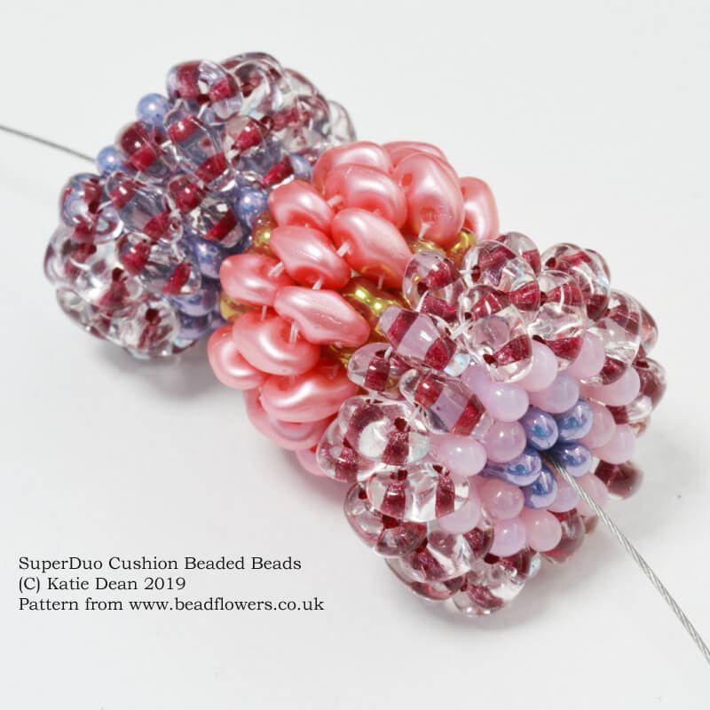 SuperDuo Cushion Beaded Beads pattern, Katie Dean, Beadflowers
