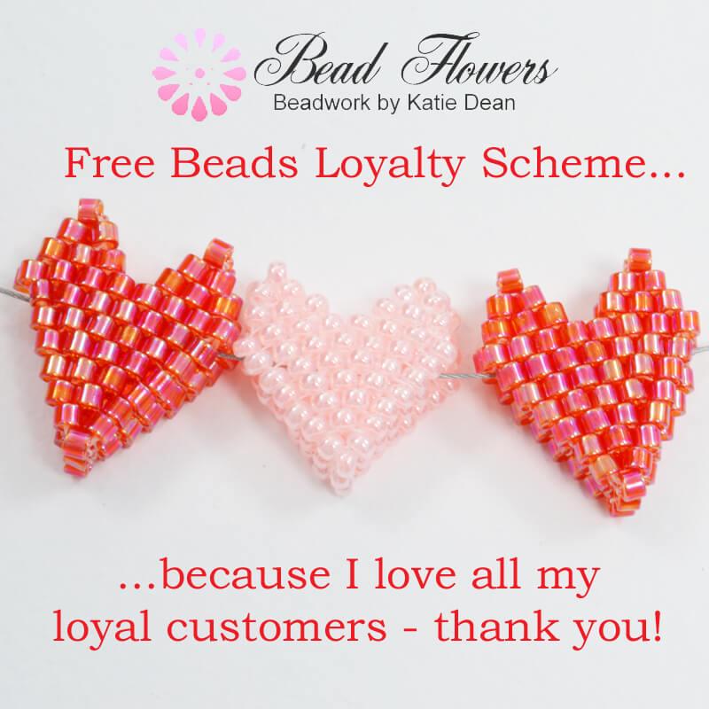 Free beads loyalty scheme from Bead flowers, beadwork by Katie Dean