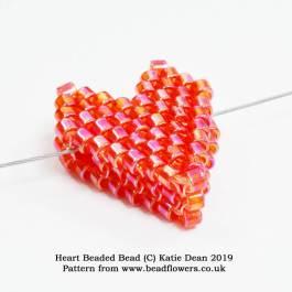 Heart beaded bead pattern, Katie Dean, Beadflowers