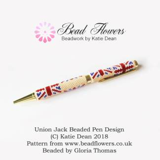 Union Jack Pen Beading Pattern, Katie Dean, Beadflowers