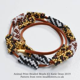 Animal print beaded bead bracelet pattern, Katie Dean, Beadflowers