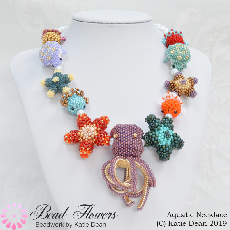 Beaded necklace project with an aquatic theme. Free instructions from Katie Dean, Beadflowers