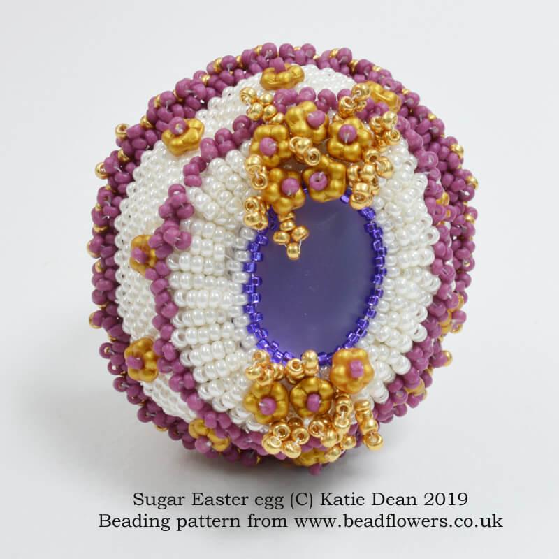 Sugar Easter egg bead pattern, Katie Dean, Beadflowers