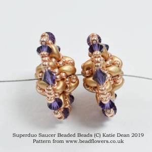 Superduo saucer beaded bead pattern, Katie Dean, Beadflowers