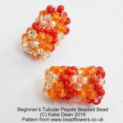 Beginner tubular Peyote pattern for making beaded beads, Katie Dean, Beadflowers