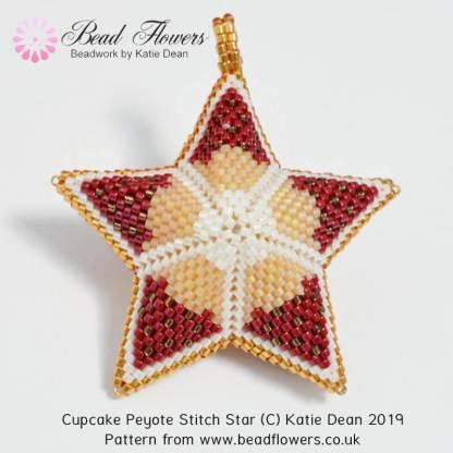 Cupcake Peyote star pattern, Katie Dean, Beadflowers