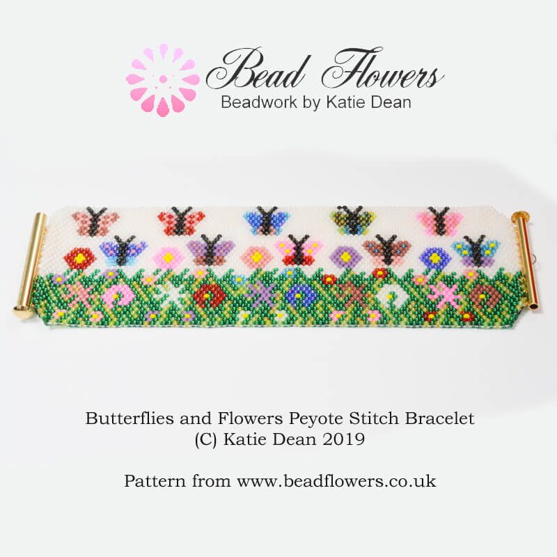 Peyote Stitch Bracelet Pattern for Butterflies and Flowers ~ Beadflowers