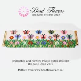 Peyote stitch bracelet pattern: butterflies and flowers design, Katie Dean, Beadflowers