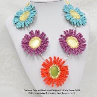 Gerbera Beaded Necklace Pattern, Katie Dean, Beadflowers