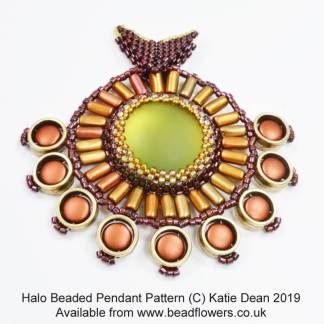 Halo beaded pendant, Katie Dean, Beadflowers