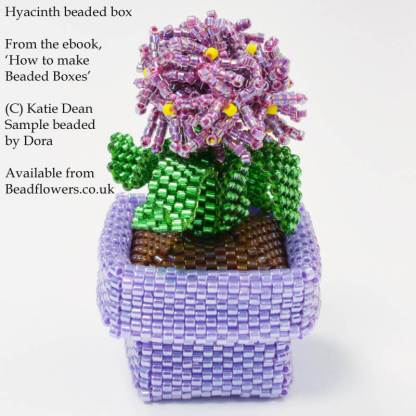 Hyacinth beaded box from the ebook, 'How to make beaded boxes: 7 flower pot designs', by Katie Dean, Beadflowers