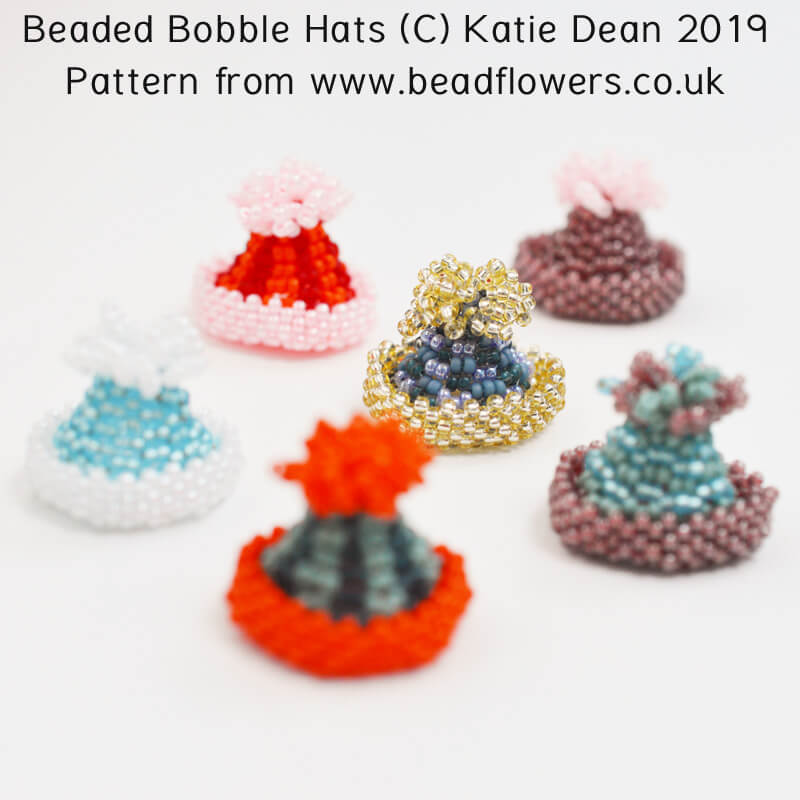 Beaded bobble hats pattern, Katie Dean, Beadflowers