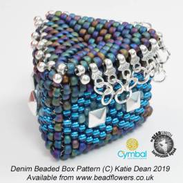Denim beaded box pattern, Katie Dean, Beadflowers