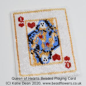 Queen of Hearts Beaded Playing Card, by Katie Dean, Beadflowers