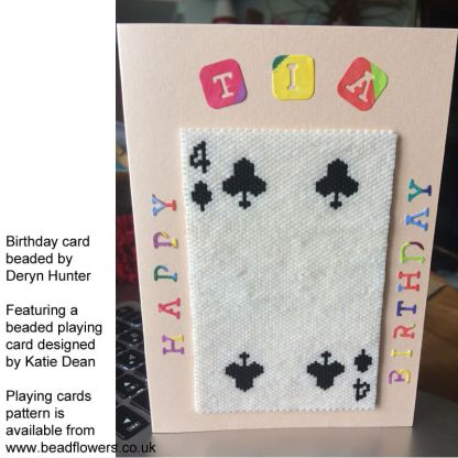 Beaded playing card added to a birthday card. Beaded by Deryn Hunter. Playing cards designed by Katie Dean, Beadflowers