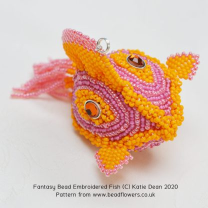 Dimensional bead embroidery fish pattern, fantasy fish by Katie Dean, Beadflowers