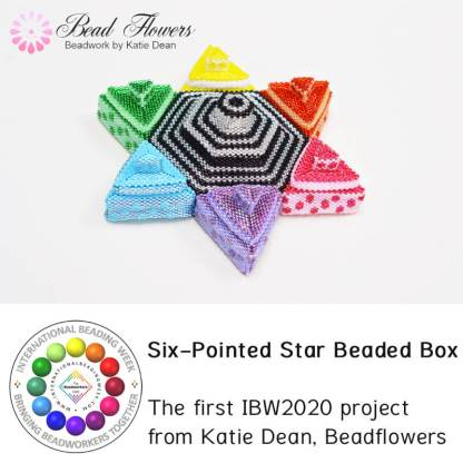 First Beading Project for International Beading Week 2020: six pointed star beaded box, by Katie Dean, Beadflowers