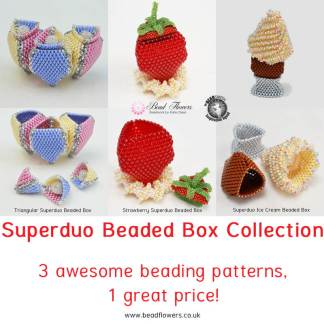 Superduo beaded box collection, Katie Dean, Beadflowers